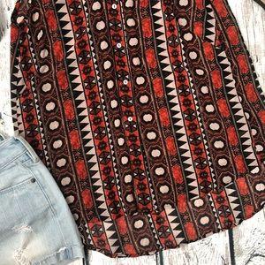 H&M Tops - 🌿H&M Red Sheer Sleeveless Shirt Aztec